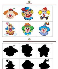 árnyékos bohóc Preschool Circus, Circus Activities, Preschool Math, Preschool Worksheets, Activities For Kids, Kindergarten, Clown Crafts, Carnival Crafts, Carnival Themes