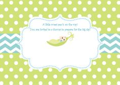 Sweet Pea Invitation  Baby Boy Invitation  by SweetEPaperBoutique