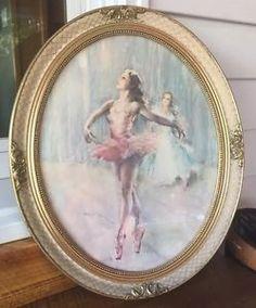 Vintage Fried Pal Ballerina Lithograph framed printed under glass 1960's
