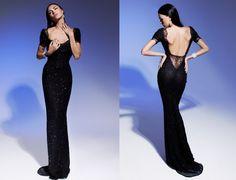 Olesya Malinskaya New Arrival Sexy Backless Black  vestido de festa Customized Sequin Lace 2014 Evening Dresses