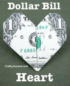 Folded Dollar Bill Heart by Crafty Journal | Dollar Bill Heart | Dollar Bill Origami  | Money Gift | Dollar Bill | Dollar Bill Valentine | Valentine | Valentine's Day