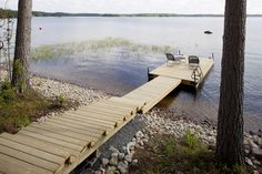 Laituri2 Lake Dock, Boat Dock, Summer Cabins, Floating Dock, Outdoor Stairs, Terrace Garden, Lake Life, Cottage Style, My Dream Home