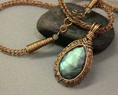 Beautiful wire wrapped labradorite pendant by Nicola Beer of Rubycurls Jewellery....from a tut by Lisa Lynn Barth.