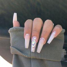 Nails, dope nails, rhinestone nails, prom nails, nails perfect na Aycrlic Nails, Glam Nails, Bling Nails, Hair And Nails, Beauty Nails, Bling Nail Art, Gems On Nails, Jewel Nails, Cardi B Nails