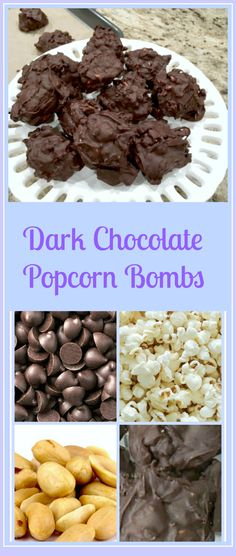 Dark Chocolat Popcorn Bombs - Dark Chocolate Popcorn and Peanut Bombs are a family favorite. With only 3 ingredients, you have a sweet and salty treat in no time at all. Chocolate Popcorn, Chocolate Treats, Chocolate Oatmeal, Chocolate Recipes, Easy Desserts, Delicious Desserts, Candy Recipes, Dessert Recipes, Homemade Popcorn
