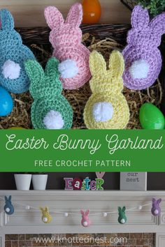 This fast and easy crochet pattern for a sweet little Easter Bunny would make the perfect Easter Basket gift. You can also string several together for decoration! Bunny Crafts, Easter Crafts, Easter Decor, Easter Garland, Easter Centerpiece, Easter Bunny Decorations, Easter Table, Easter Party, Easter Wreaths