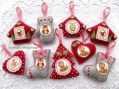 Купить Мини набор 3шт. елочных игрушек из фетра и ткани в интернет магазине на Ярмарке Мастеров