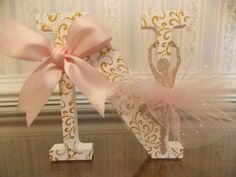 Free Standing Personalized Letters:  Pink & Gold Ballerina Set by CountingOurBlessings on Etsy