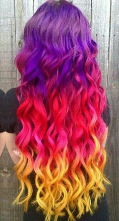 Hair color dyed in yellow purple pink # hair - Hair Color 02 Violet Hair Colors, Cute Hair Colors, Bright Hair Colors, Beautiful Hair Color, Hair Dye Colors, Cool Hair Color, Cool Hair Dyed, Rainbow Hair Colors, Rainbow Dyed Hair