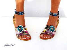IMPORTANT: Please include a phone number at checkout, as its required by the carrier WE OFFER EXPRESS SHIPPING WORLDWIDE 1-4 DAYS WITH NO EXTRA CHARGE More Boho Chic! So comfortable sandals, embelished with gold, turquoise and pink lace. Handmade from 100% real quality leather. All my Bohemian Shoes, Bohemian Look, Boho Gypsy, Boho Chic, Fashion Bags, Fashion Shoes, Comfortable Sandals, Pink Lace, New Shoes