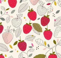 🐈 Morango💟 Food Patterns, Textile Patterns, Textile Design, Print Patterns, Textiles, Flower Patterns, Surface Pattern Design, Pattern Art, Abstract Pattern