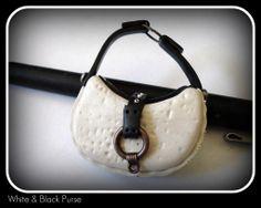 White & Black Purse Front