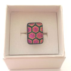 Fused glass ring, adjustable, honeycomb multi-coloured ring, pink on black