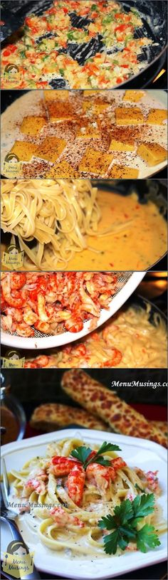 Crawfish Fettuccine - super easy casserole style fettuccine recipe that is enough to feed a large crowd.  Step-by-step photos. <3