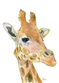 Giraffe Watercolor Painting - 4 x 6 - Giclee Print - African Animal - Nursery Art - Giraffe Painting Animal Art Prints, Animal Paintings, Animal Drawings, Art Drawings, Giraffe Painting, Giraffe Art, Watercolor Animals, Watercolor Paintings, Elephant Watercolor