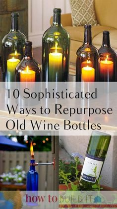 Things to Do With Old Wine Bottles, Wine Bottle Projects, Easy Craft Projects, How to Reuse WIne Bottles, Easy Ways to Reuse Wi… Reuse Wine Bottles, Recycled Wine Bottles, Bottles And Jars, Recycled Glass, Glass Bottle Crafts, Wine Bottle Art, Diy Bottle, Alcohol Bottle Crafts, Vodka Bottle