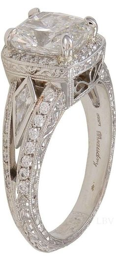Vintage Michael Beaudry Cushion Cut Diamond Platinum Ring -- 60 Stunning Jewelry Pieces From Pinterest @styleestate