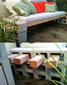 Banco com blocos de concreto e madeira   Bench