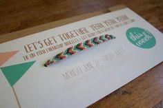 friendship bracelets on a card
