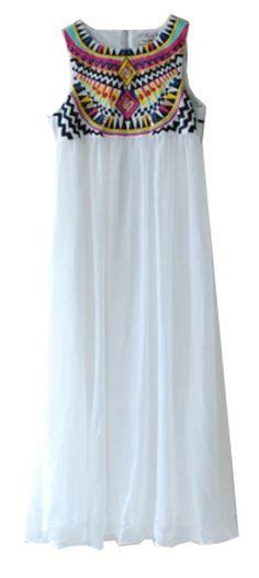 White Sleeveless Embroidery Pleated Chiffon Dress