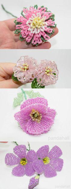 Seed bead flowers by customer svetik