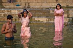 """ghats along the Ganges in Varanasi, India by Phil Marion.  A 'ghat' """"refers to a series of steps leading down to a water body, usually a holy river. In Bengali-speaking regions, this set of stairs can lead down to something as small as a pond or as large as a major river."""""""