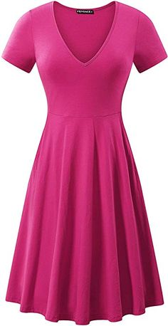 8c85a61423a FENSACE Womens Ladies Dresses Short Sleeve Hot Pink Dress X-Large at Amazon Women s  Clothing store