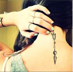 An arrow can be shot forward only by pulling it backward. When life is dragging you back with difficulties, it means that it's going to launch you into something great #tattoo #necktattoo #arrow
