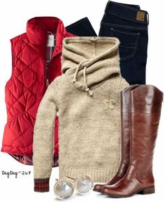 Fall Outfit With Cozy High Neck Sweater and Fluffy Vest