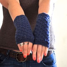Cozy Crochet Fingerless Mittens in Denim Blue. I want some. possibly in red though.
