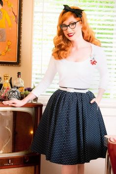 Pinup Couture - 50s Allison Swing Dress in Navy Pin Dots and White