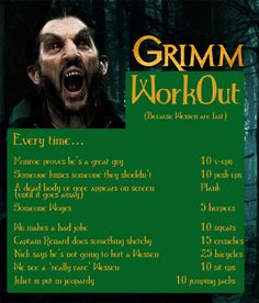 So excited about @NBCGrimm coming back on Friday that I put together a Grimm Workout. #Grimm #Fitness