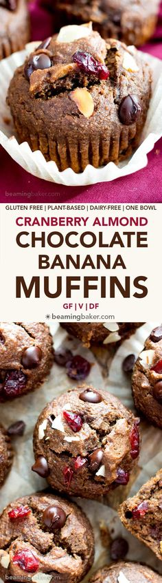 Chocolate Cranberry Almond Banana Muffins (Gluten-Free, Vegan, One Bowl, Dairy-Free) - Beaming Baker