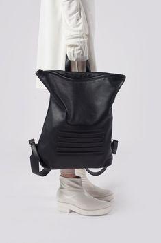 black ink unisex leather backpack
