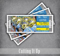 Football Bar Mitzvah Place Card Tickets / Bruins Tented Folded Name Cards / University Themed Wedding Reception Seating Cards / School Team Softball Wedding, Basketball Wedding, Sports Wedding, Golf Wedding, Wedding Reception Seating, Reception Party, Rustic Wedding, Wedding Ideas, Bar Mitzvah Themes