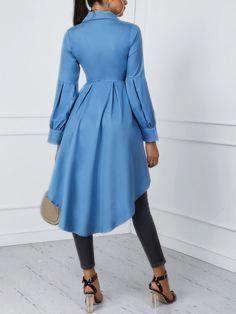 f7f98702156 Shop Lantern Sleeve Button Design Dip Hem Blouse – Discover sexy women  fashion at IVRose