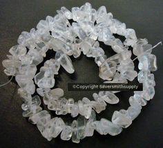 Crystal quartz natural clear stone medium size chip beads 15 inch strand sb001 #Silversmithsupply #Chip Semi Precious Beads, Burlap Wreath, Quartz Crystal, Stone, Crystals, Medium, Natural, Jewelry, Rock