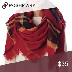 """NWT oversized plaid tartan blanket scarf burgundy Beautiful warm and cozy red Scottish tartan blanket scarf with fringe. Comes with brooch to clasp scarf if desired. Measures 55""""x55"""".  Feel free to make offers! Boutique  Accessories Scarves & Wraps"""