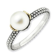 Sterling Silver & 14k Stackable Expressions  7.0-7.5mm White Pearl Ring