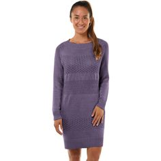 Women's Soybu Retreat Long Sleeve Sweater Dress (1.625 CZK) ❤ liked on Polyvore featuring dresses, med purple, long sleeve crew neck dress, long sleeve embellished dress, metallic dress, shiny metallic dress and wetlook dress