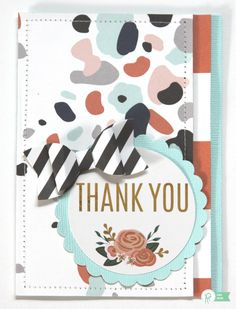 Thank You *Pebbles* - Scrapbook.com - Pretty handmade card, foiled with the MINC machine and stitched with a sewing machine.
