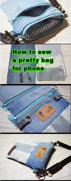 How to sew a pretty small bag for phone. Easy step to step tutorial.