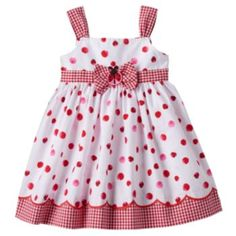 Sweeten her spring wardrobe with this charming girls' ladybug sundress by Blueberi Boulevard. In red/white. Toddler Girl Dresses, Toddler Outfits, Kids Outfits, Baby Girl Dress Patterns, Baby Dress, Little Girl Dresses, Girls Dresses, Kids Robes, Kids Dress Wear