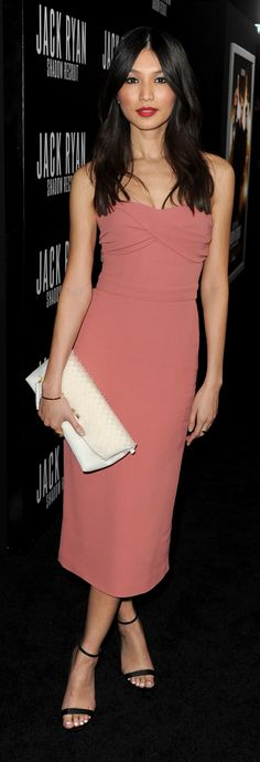 British actress Gemma Chan wearing Burberry S/S14 and The Petal bag to the premiere of Jack Ryan in Los Angeles