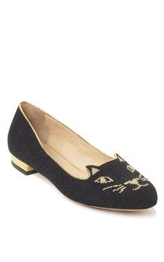 Charlotte Olympia Black Kitty Flat
