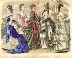 Godey's Summer 1873 - Color fashion plate appeared in the July 1873 issue of Godey's Ladys Book