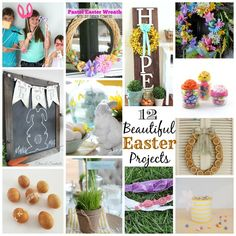 12 Beautiful Easter Projects by bertha Easter Projects, Easter Crafts, Easter Ideas, Bunny Crafts, Easter Recipes, Diy Projects, Diy Ribbon Flowers, Pottery Barn Inspired, Easter Wreaths
