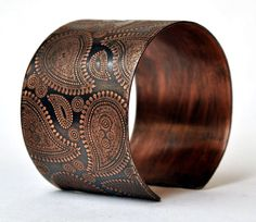 Handmade Paisley Copper Cuff Bracelet Etched