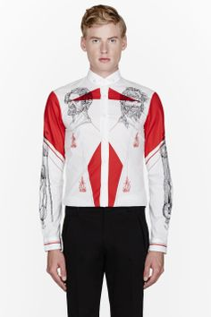MCQ ALEXANDER MCQUEEN White & red tattoo artist fitted shirt