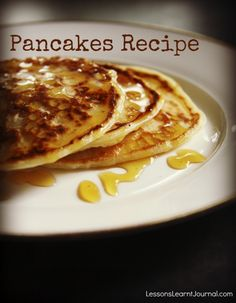 This pancakes recipe makes delicious dense pancakes: a texture that fairs well as finger food for younger children. (Less fluffy crumbs to clean up? Huzzah!)